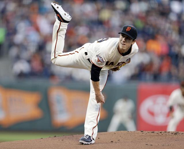 San Francisco Giants starting pitcher Tim Lincecum throws to the Boston Red Sox during the first inning of a baseball game against the Boston Red Sox on Monday, Aug. 19, 2013, in San Francisco. (AP Photo/Marcio Jose Sanchez)