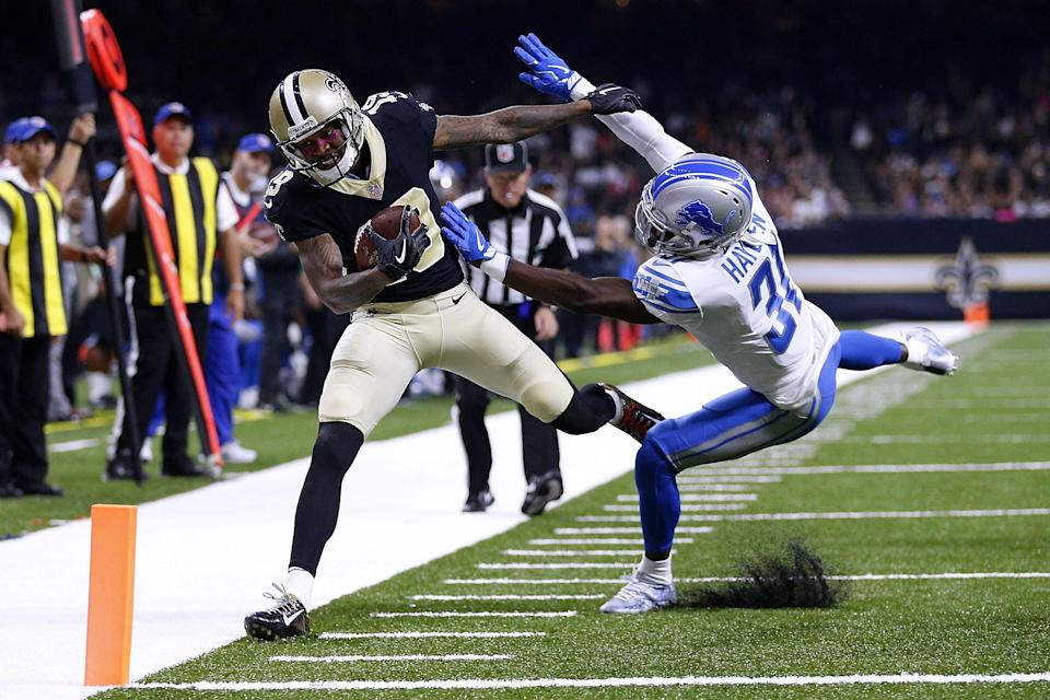 <p>D.J. Hayden #31 of the Detroit Lions forces Ted Ginn #19 of the New Orleans Saints out of bounds during the first half of a game at the Mercedes-Benz Superdome on October 15, 2017 in New Orleans, Louisiana. (Photo by Jonathan Bachman/Getty Images) </p>