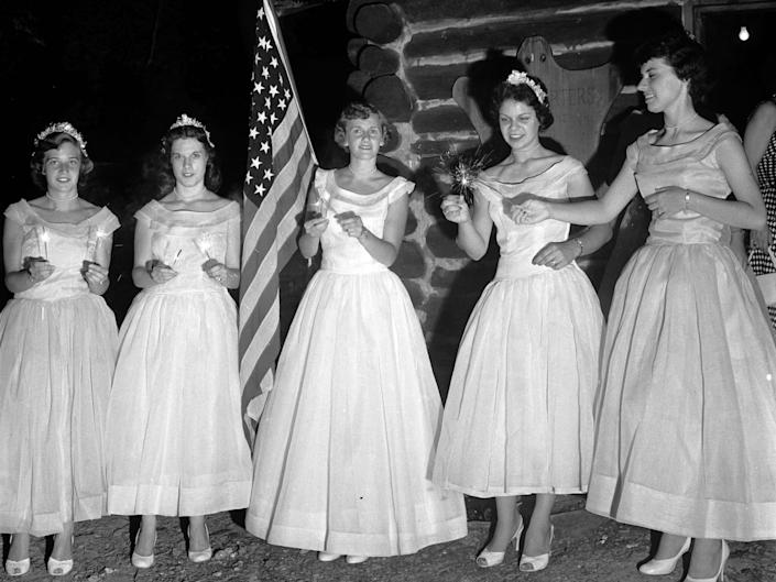 The Queen of Candles and her maids, July 4, 1955.