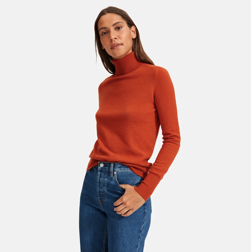 """$130, Everlane. <a href=""""https://www.everlane.com/products/womens-cashmere-turtleneck-rust?collection=womens-100-dollar-cashmere"""">Get it now!</a>"""