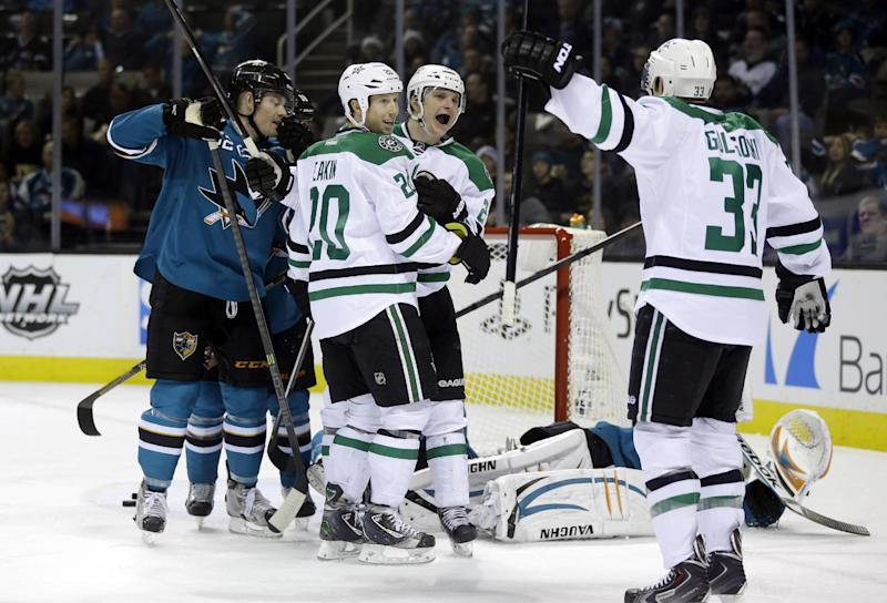 Sharks rally to beat Stars 3-2 in SO
