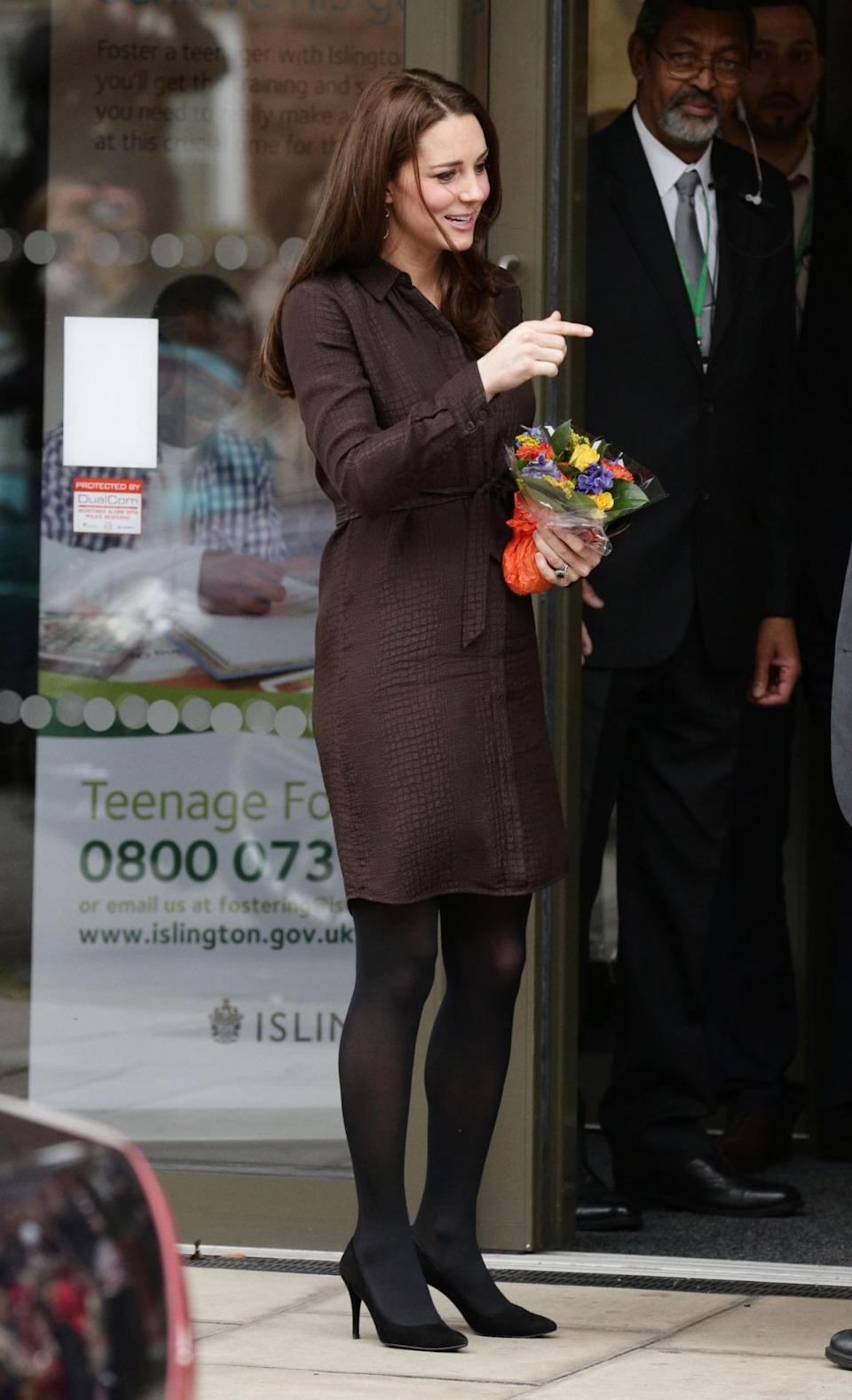 <p>Kate donned a silk shirtdress by Hobbs for a day in London. Featuring a subtle animal print, she accessorised with a black Mulberry clutch and suede Stuart Weitzman pumps.</p><p><i>[Photo: PA]</i></p>