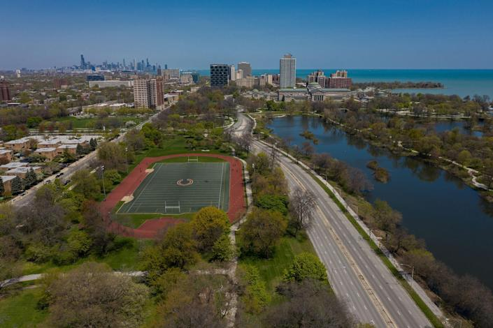 An aerial view shows the proposed site for the Obama Presidential Center in Chicago's Jackson Park on May 13, 2020. (Zbigniew Bzdak / Tribune News Service via Getty Images)