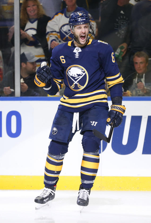 Buffalo Sabres defenseman Marco Scandella (6) celebrates his goal during the third period of an NHL hockey game against the Florida Panthers, Friday, Oct. 11, 2019, in Buffalo, N.Y. (AP Photo/Jeffrey T. Barnes)