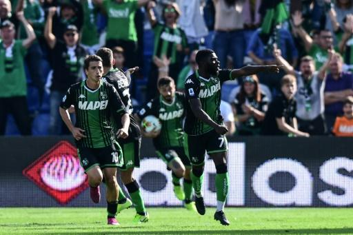 Jeremie Boga (R) scored and set up another goal to ease Sassuolo's relegation worries