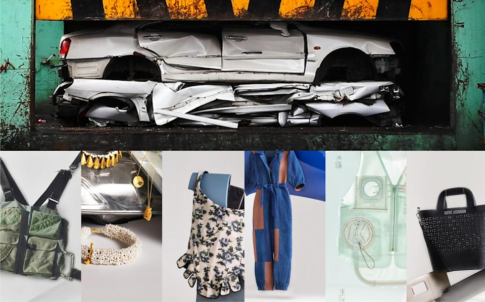 Discarded materials from scrapped cars are reborn as unique fashion collections.