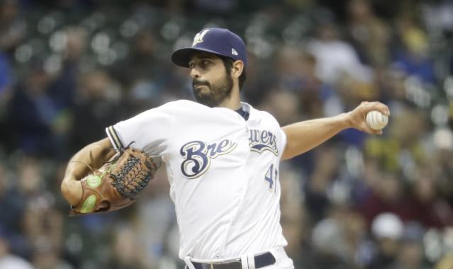 Milwaukee Brewers starting pitcher Gio Gonzalez throws during the first inning of a baseball game against the Cincinnati Reds Tuesday, May 21, 2019, in Milwaukee. (AP Photo/Morry Gash)