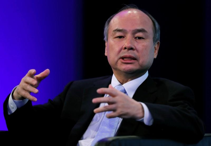 SoftBank Group Corp Chairman and CEO Son speaks during the Wall Street Journal CEO Conference in Tokyo