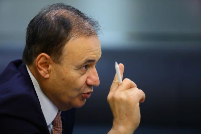 Alfonso Durazo, former security minister and candidate for governor in Sonora, gestures during an interview with Reuters in Mexico City