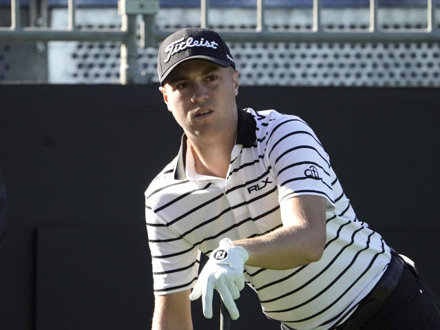 Justin Thomas of the United States watches his tee shot on the 10th hole during the pro-am event of the Zozo Championship PGA Tour at Accordia Golf Narashino C.C. in Inzai, east of Tokyo, Japan, Wednesday, Oct. 23, 2019. (AP Photo/Lee Jin-man)