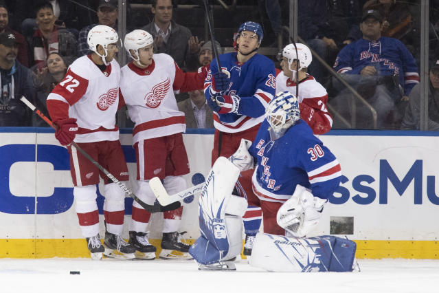 New York Rangers goaltender Henrik Lundqvist (30) and defenseman Libor Hajek (25) react as Detroit Red Wings center Valtteri Filppula (51) celebrates after scoring a goal with center Andreas Athanasiou (72) and defenseman Joe Hicketts (2) during the second period of an NHL hockey game, Wednesday, Nov. 6, 2019, at Madison Square Garden in New York. (AP Photo/Mary Altaffer)