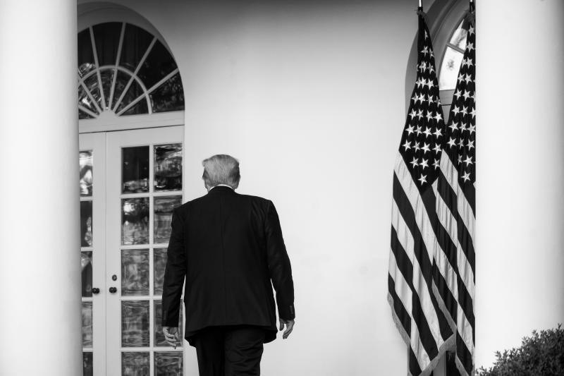 President Donald Trump leaves after speaking at the Rose Garden of the White House in Washington, June 1, 2020. (Doug Mills/The New York Times)
