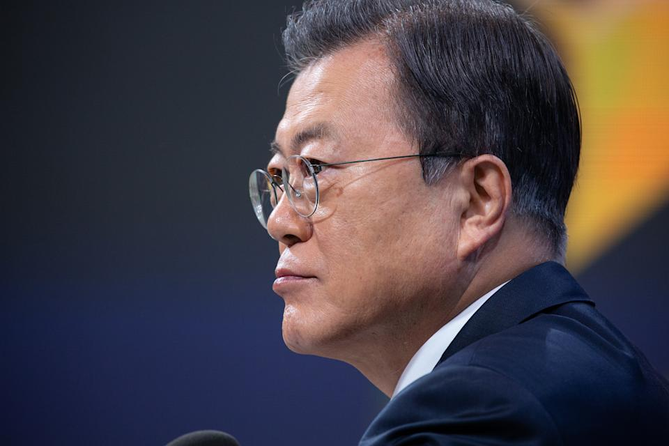 SEOUL, SOUTH KOREA - JANUARY 18: South Korean President Moon Jae-in speaks during an on-line New Year press conference with local and foreign journalists at the Presidential Blue House on January 18, 2021 in Seoul, South Korea. (Photo by Jeon Heon-Kyun - Pool/Getty Images)