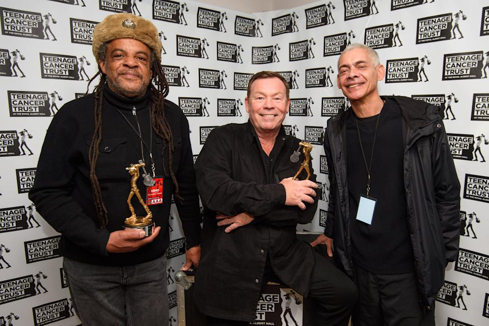 Astro, Ali Campbell and Mickey Virtue form a UB40 breakaway group. (Photo by PA Wire/PA Images via Getty Images)