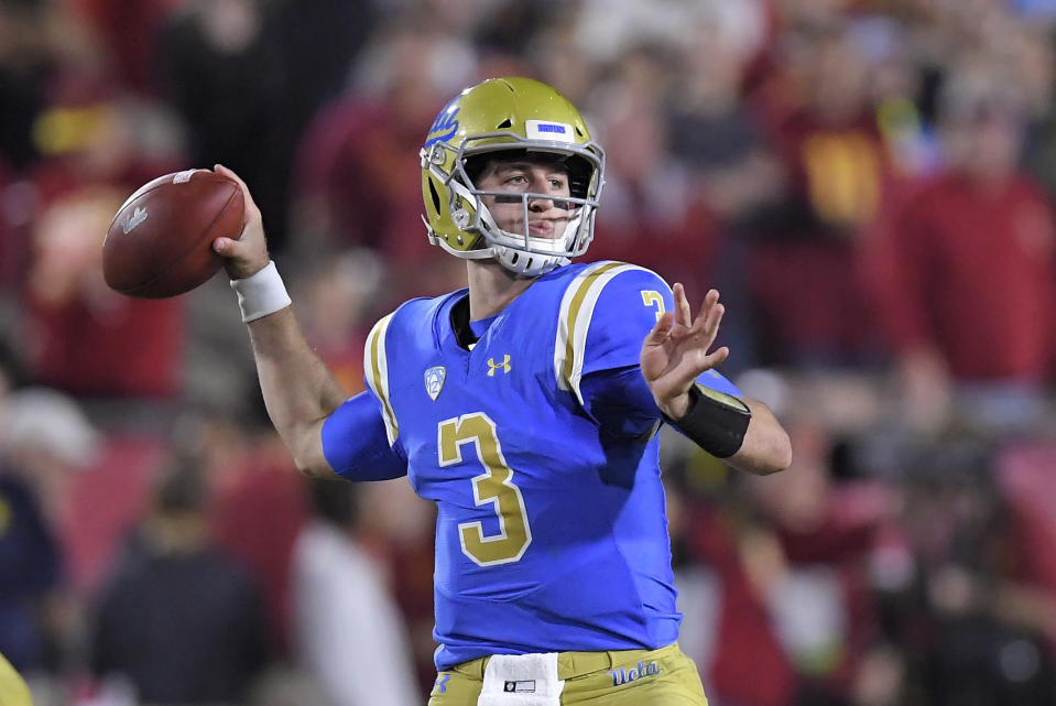 UCLA quarterback Josh Rosen won his duel with USC's Sam Darnold, but the Bruins ultimately lost the game 28-23. (AP)