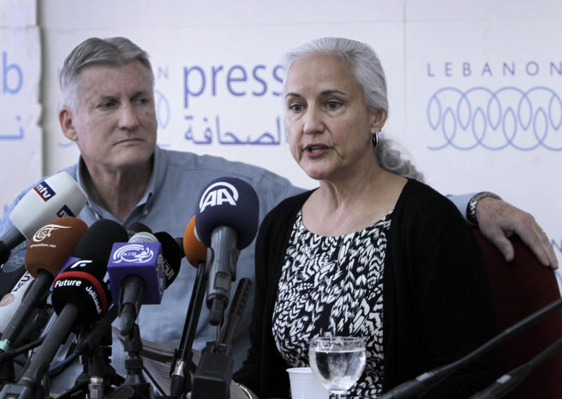 "Marc and Debra Tice, the parents of Austin Tice who is missing in Syria, speak during a press conference, at the Press Club, in Beirut, Lebanon, Monday, Nov. 12, 2012. The family of an American freelance journalist, who disappeared in Syria while covering the war says they still don't know who is holding him. The parents of Austin Tice told reporters in Beirut Monday they have ""no idea where he is and who he is with."" (AP Photo/Bilal Hussein)"