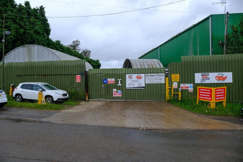 The body was found inside a freezer at a recycling plant in Colliery Lane, in Exhall (Picture: SWNS)