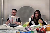 """<p>In April 2016, the Jonas Brothers singer shared a photograph on his Instagram of him reading a parenting book while his pregnant wife was surrounded by snacks in bed. </p><p>'Preparing for baby number two!,' he captioned the post. </p><p><a href=""""https://www.instagram.com/p/BEpOvB1j-T4/?utm_source=ig_web_copy_link"""" rel=""""nofollow noopener"""" target=""""_blank"""" data-ylk=""""slk:See the original post on Instagram"""" class=""""link rapid-noclick-resp"""">See the original post on Instagram</a></p>"""