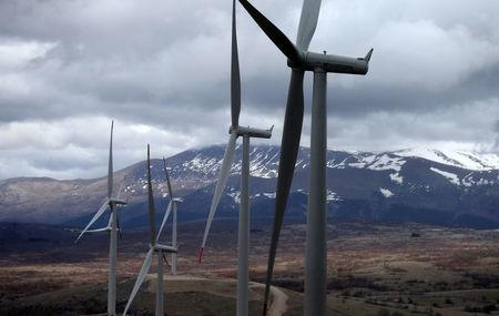 First Bosnian windmills are seen on the wind farm in Mesihovina, Bosnia and Herzegovina, March 14, 2018. REUTERS/Dado Ruvic