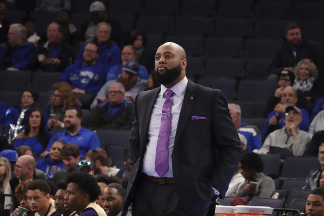 Alcorn State head coach Montez Robinson in the first half of an NCAA college basketball game against Memphis Saturday, Nov. 16, 2019, in Memphis, Tenn. (AP Photo/Karen Pulfer Focht)