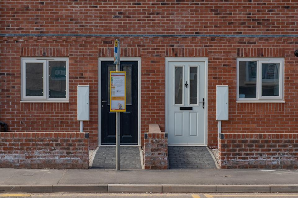 The bus stop was placed in front of the property in Stapenhill, Burton, Staffordshire. (SWNS)
