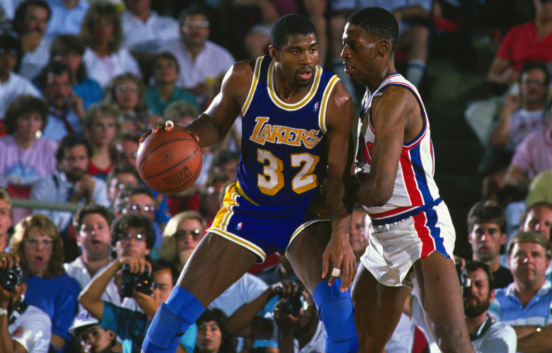 Dennis Rodman defended Magic Johnson in two straight NBA Finals. (Getty Images)