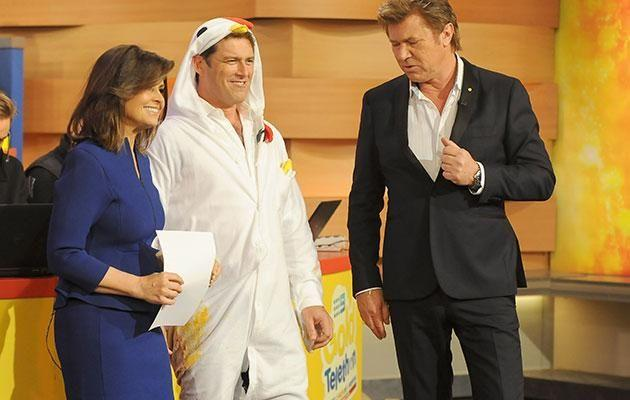Lisa on-set with her former Today co-host Karl Stefanovic and fill-in host Richard Wilkins. Source: Getty