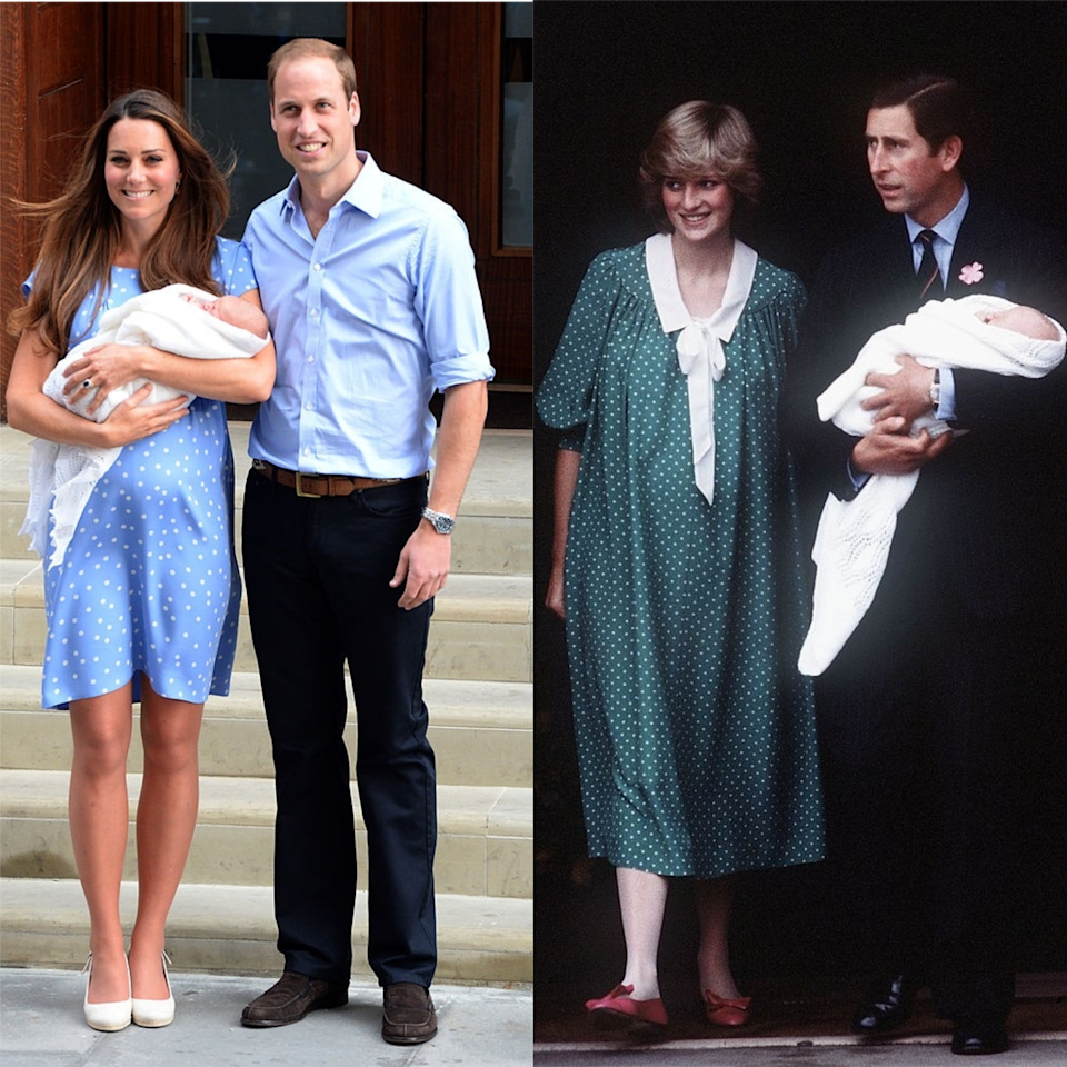 <p>Both new mothers wore polka-dots for their first post-birth public appearances. Middleton wore a Jenny Packham blue dress to introduce the world to Prince George, whilst Diana opted for green to show off George's father, Prince William.</p>