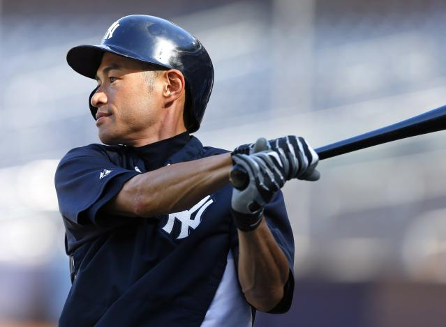 NEW YORK, NY - AUGUST 14: Ichiro Suzuki #31 of the New York Yankees warms up during batting practice before the start of a MLB baseball game against the Los Angeles Angels of Anaheim at Yankee Stadium on August 14, 2013 in the Bronx borough of New York City. (Photo by Rich Schultz/Getty Images)