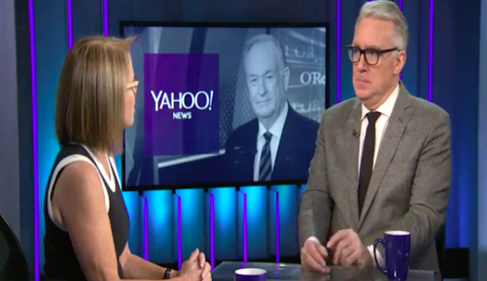 Keith Olbermann discusses Bill O'Reilly's departure from Fox with Katie Couric. (Screenshot via Yahoo News Video)
