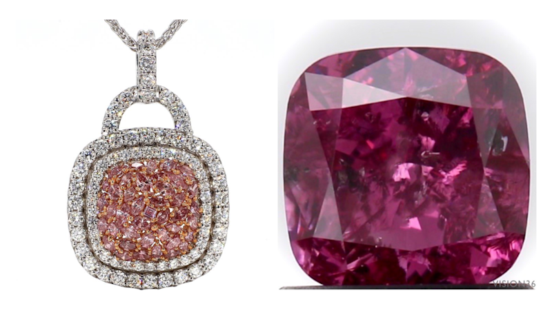 The Argyle pink diamond necklet and the Argyle pink loose diamond. Source: Lloyds Auctions