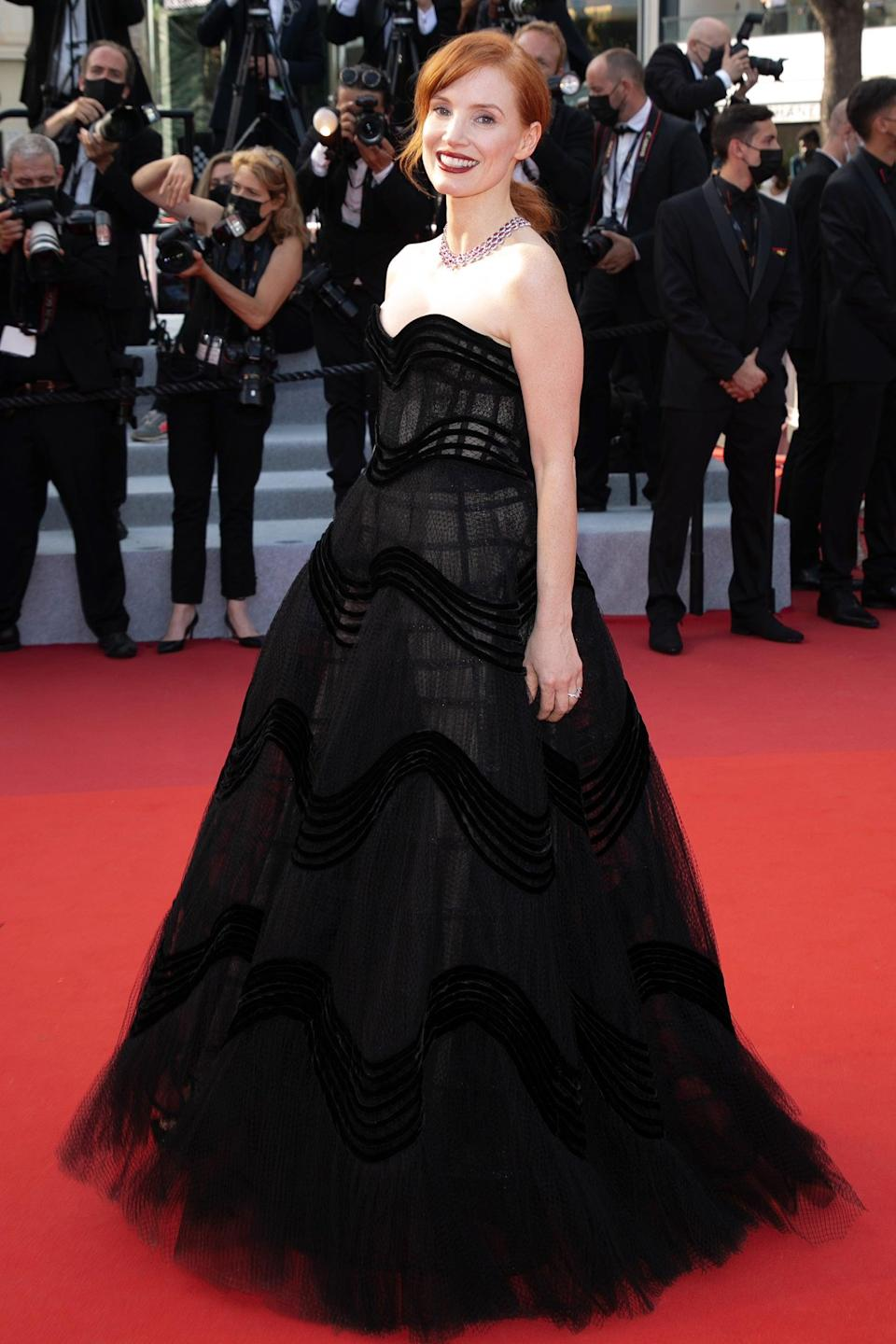 """Jessica Chastain went for a goth princess look in a Dior strapless gown. <span class=""""copyright"""">Photo: Marc Piasecki/FilmMagic.</span>"""