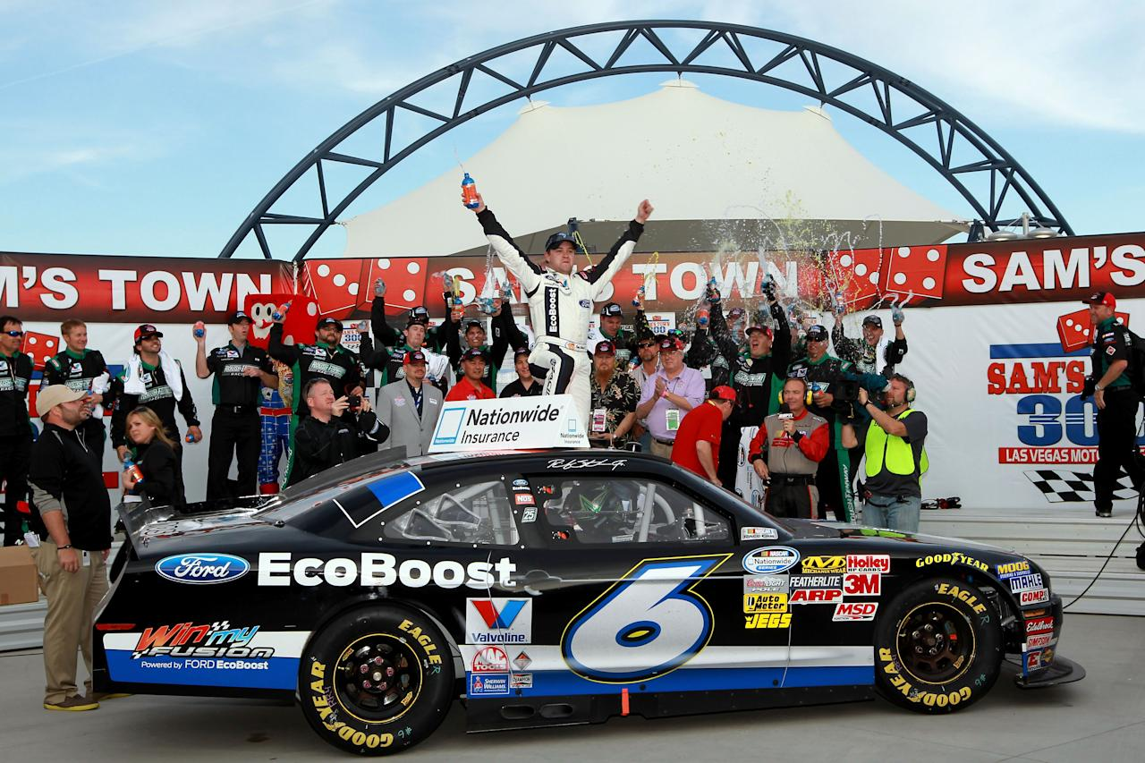 LAS VEGAS, NV - MARCH 10:  Ricky Stenhouse Jr., driver of the #6 Ford EcoBoost Ford, celebrates in Victory Lane after winning the NASCAR Nationwide Series Sam's Town 300 at Las Vegas Motor Speedway on March 10, 2012 in Las Vegas, Nevada.  (Photo by Jerry Markland/Getty Images for NASCAR)