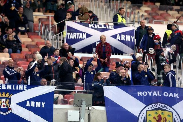 Scotland fans attend a Euro 2020 qualifier against Russia in Moscow before the pandemic