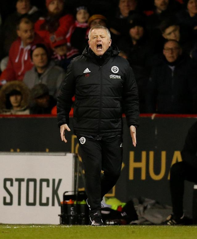 "Soccer Football - Championship - Sheffield United vs Queens Park Rangers - Bramall Lane, Sheffield, Britain - February 20, 2018 Sheffield United manager Chris Wilder reacts Action Images/Ed Sykes EDITORIAL USE ONLY. No use with unauthorized audio, video, data, fixture lists, club/league logos or ""live"" services. Online in-match use limited to 75 images, no video emulation. No use in betting, games or single club/league/player publications. Please contact your account representative for further details."