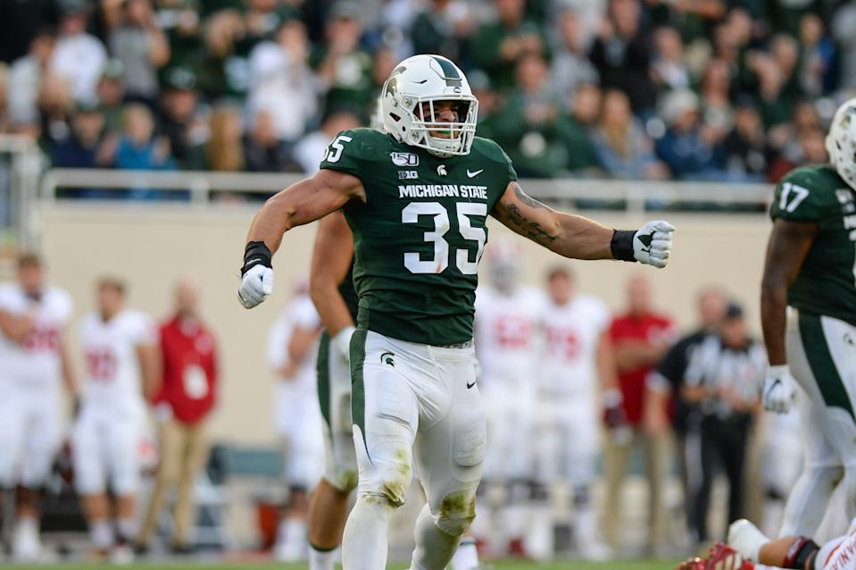 EAST LANSING, MI - SEPTEMBER 28: Michigan State linebacker Joe Bachie (35) celebrates a tackle during a college football game between the Michigan State Spartans and Indiana Hoosiers on September 28, 2019 at Spartan Stadium in East Lansing, MI. (Photo by Adam Ruff/Icon Sportswire via Getty Images)