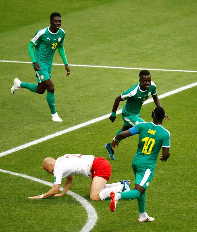 Soccer Football - World Cup - Group H - Poland vs Senegal - Spartak Stadium, Moscow, Russia - June 19, 2018 Senegal's Idrissa Gueye celebrates their first goal REUTERS/Kai Pfaffenbach TPX IMAGES OF THE DAY