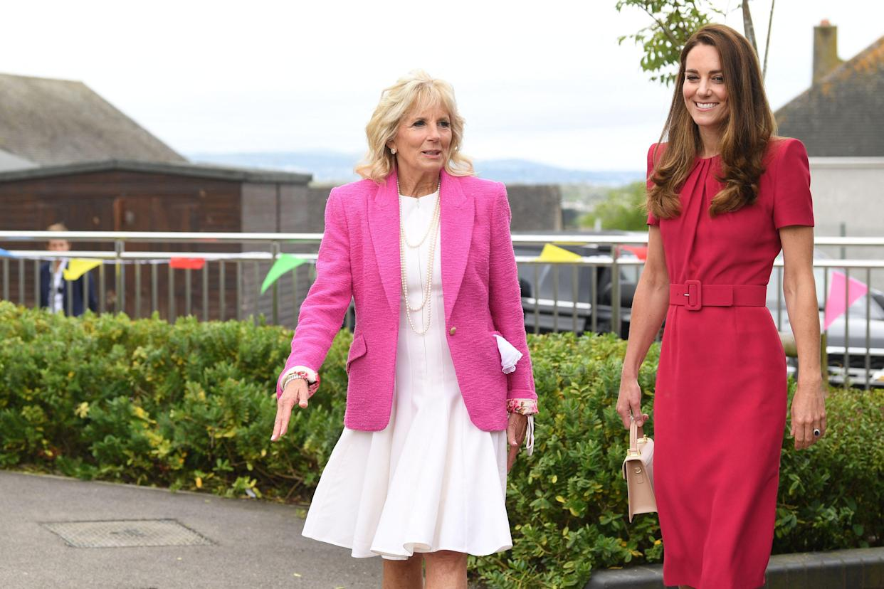 Britain's Catherine, Duchess of Cambridge and US First Lady Jill Biden visit Connor Downs Academy in Hayle, Cornwall on the sidelines of the G7 summit on 11 June. Photo: Daniel Leal-Olivas/AFP via Getty Images