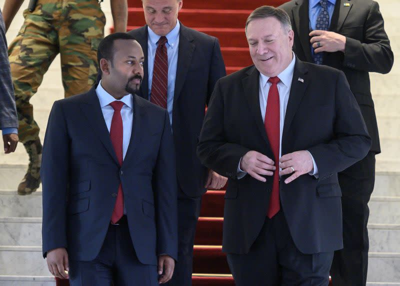 U.S. Secretary of State Mike Pompeo walks with Ethiopian Prime Minister Abiy Ahmed at the Prime Minister office after a meeting in Addis Ababa