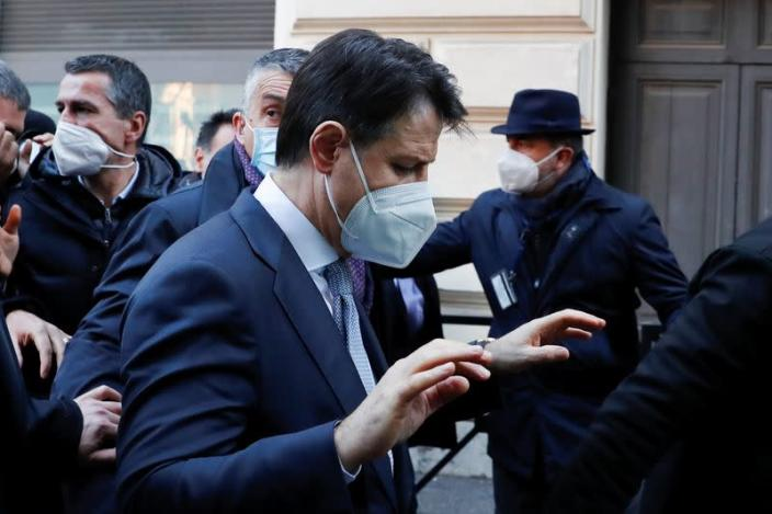 FILE PHOTO: Italian Prime Minister Giuseppe Conte arrives to the Prime Minister's Office in Rome