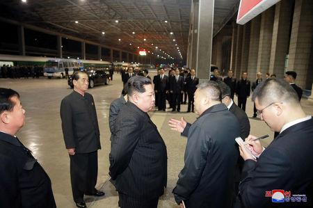 North Korean leader Kim Jong Un visits the Pyongyang Railway Station to see off a special purpose train carrying the bodies of Chinese victims who were killed or wounded in a traffic accident, in this undated photo released on April 26, 2018 by North Korea's Korean Central News Agency (KCNA). KCNA/via Reuters
