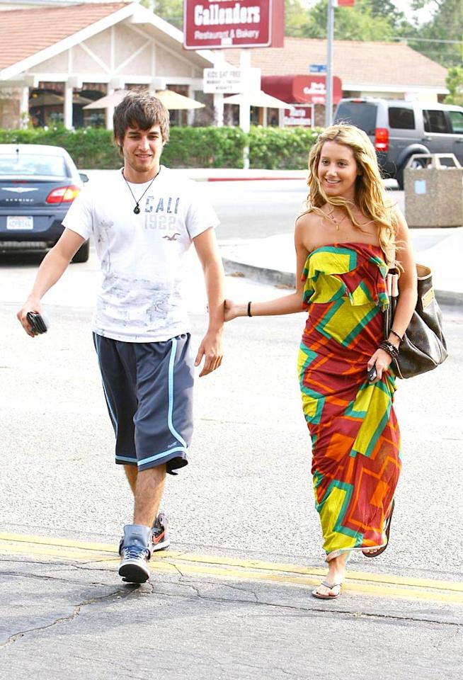 "As much as we'd like to hate on all things ""HSM,"" we have to admit that we're starting to fall for Ashley Tisdale. She and her beau, Jared Murillo, are super cute together ... and that strapless, patterned dress of hers is super fun for summer. Breeden/Jones/<a href=""http://www.pacificcoastnews.com/"" target=""new"">PacificCoastNews.com</a> - July 9, 2008"