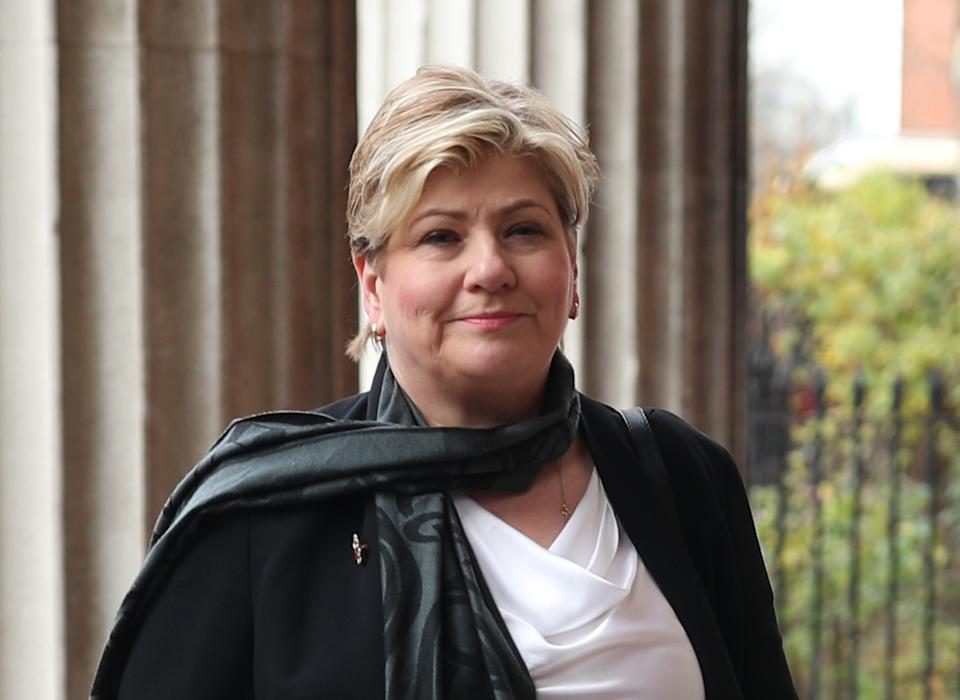 Emily Thornberry arrives for the funeral of Frank Dobson at St Pancras Church in London.