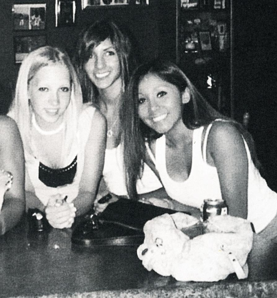 Snooki (right) and two friends hang out during senior year at Marlboro High.