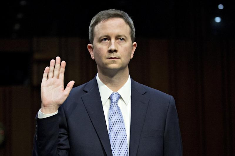 Sean Edgett, Twitter's acting general counsel, swears in at a U.S. Senate hearing on Tuesday about Russia's use of social media networks to meddle in the 2016 election. (Bloomberg via Getty Images)