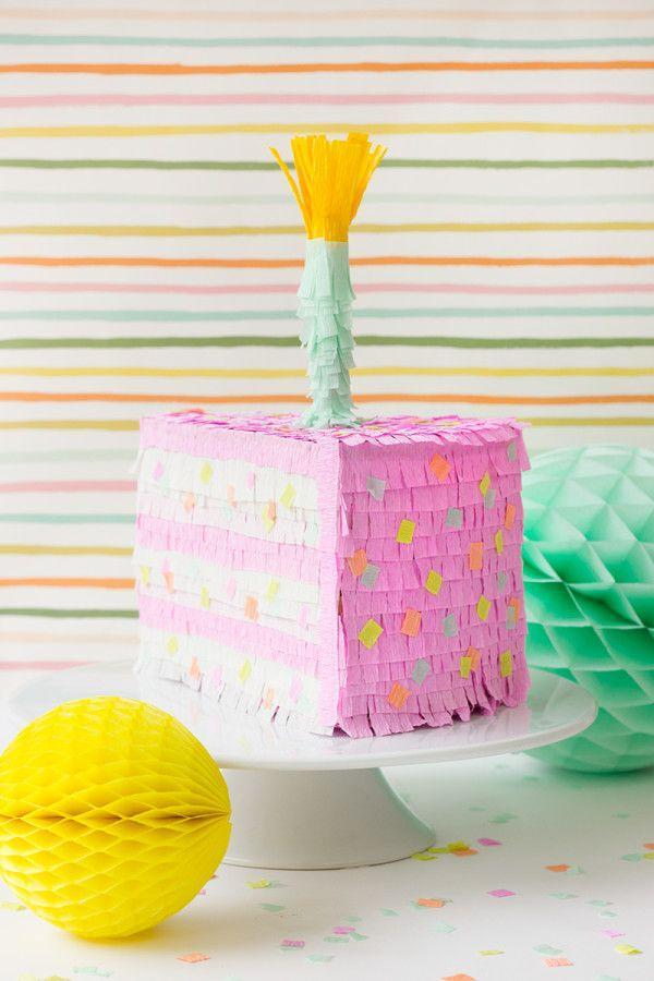 """<p>Cardboard and crepe paper can be transformed into a birthday cake-shaped piñata, because you're never too old for birthday games and candy. </p><p><strong><em><a href=""""https://studiodiy.com/diy-birthday-cake-pinata/"""" rel=""""nofollow noopener"""" target=""""_blank"""" data-ylk=""""slk:Get the tutorial at Studio DIY"""" class=""""link rapid-noclick-resp"""">Get the tutorial at Studio DIY</a>. </em></strong></p><p><a class=""""link rapid-noclick-resp"""" href=""""https://www.amazon.com/Just-Artifacts-Premium-Crepe-Length/dp/B08BR4BFN1?tag=syn-yahoo-20&ascsubtag=%5Bartid%7C10070.g.37055923%5Bsrc%7Cyahoo-us"""" rel=""""nofollow noopener"""" target=""""_blank"""" data-ylk=""""slk:SHOP CREPE PAPER"""">SHOP CREPE PAPER</a></p>"""
