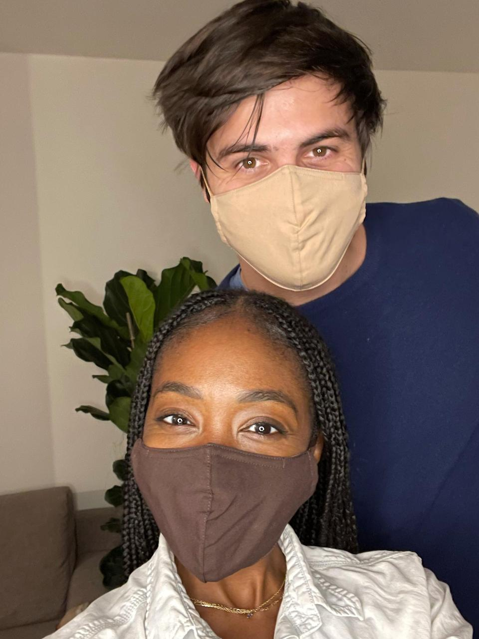 <p><strong><span>Me in Banana Republic True Hues Mask in Star Anise Brown and Michele in Sonoran Beige</span></strong></p>