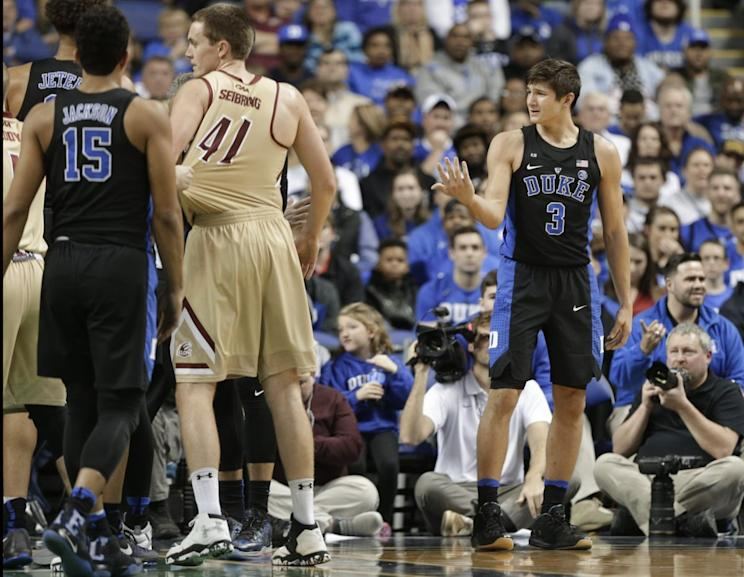 077339a06c20 Duke s Grayson Allen reacts after being called for a foul from tripping an  Elon player.