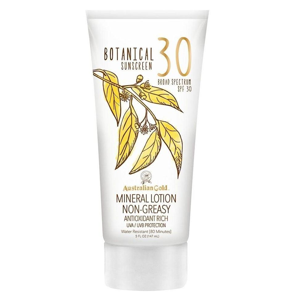 "<h2>Australian Gold Botanical Mineral Sunscreen SPF 30</h2> <br><strong>Best: Mattifying Sunscreen</strong><br>An eco-conscious formula that is completely free of oxybenzone, parabens, phthalate, petrolatum, sulfates, dyes, and oils — Australian Gold's botanical SPF uses a blend of minerals like titanium dioxide and zinc oxide to provide powder-like matte-finish protection with a hint-of-citrus scent. <br><br><strong>The Hype:</strong> 4.4 out of 5 stars and 5,210 reviews on Amazon<br><br><strong>Reviewers Say:</strong> ""It's super easy to blend in, doesn't clog my pores or feel greasy, doesn't have that sunscreen smell. My skin hasn't had any breakouts from it and it's cruelty-free! It's kind of mystifying, so if you have dry skin either try something else or make sure you've prepped your skin well with hydrating products — I'm combination/oily so it worked fine for me. It's also a tad on the thick side, so it might not be the best for wearing underneath makeup. More for a no-makeup day in my opinion!""<br><br><strong>Deals:</strong> Save <strong>13% off </strong>on <strong><a href=""https://amzn.to/3fEEPzf"" rel=""nofollow noopener"" target=""_blank"" data-ylk=""slk:Amazon"" class=""link rapid-noclick-resp"">Amazon</a></strong><br><br><strong>Australian Gold</strong> Botanical Sunscreen Mineral Lotion, SPF 30, $, available at <a href=""https://amzn.to/30ikCbW"" rel=""nofollow noopener"" target=""_blank"" data-ylk=""slk:Amazon"" class=""link rapid-noclick-resp"">Amazon</a><br><br><br><br><br><br><br><br>"
