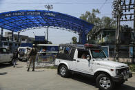 A National Investigation Agency team arrives at the Jammu air force station after two suspected blasts were reported early morning in Jammu, India, Sunday, June 27, 2021. Indian officials said Sunday they suspected explosives-laden drones were used to attack the air base in the disputed region of Kashmir, calling it the first such incident of its kind in India. (AP Photo/Channi Anand)